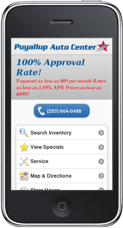 Puyallup Auto Center mobile website